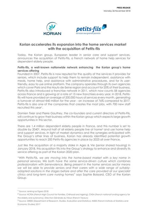 Korian accelerates its expansion into the home services market with the acquisition of Petits-fils
