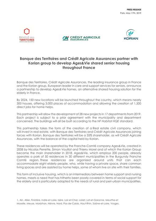 Banque des Territoires and Crédit Agricole Assurances partner with Korian group to develop Ages&Vie shared senior housing throughout France