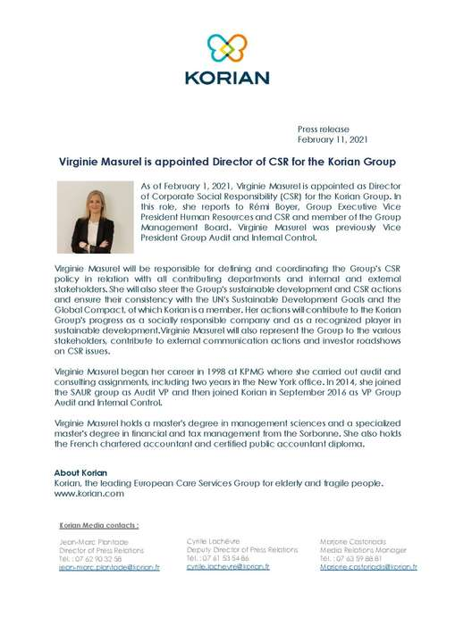 Virginie Masurel is appointed Director of CSR for the Korian Group