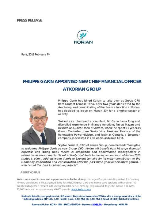 Philippe Garin appointed new Chief Financial Officer at Korian Group